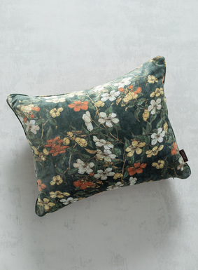 Opulent pillow in one of our favorite prints from the archive, Cherry Blossom. Polyester; velvet cording; solid velvet back; zip closure. Down inserts.