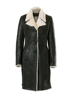 A splurge-worthy investment in luxe shearling, this flattering coat is tailored of Espresso leather that's been tumbled for a soft, supple hand and distressed matte finish. Warm yet surprisingly lightweight, the polished, slim-fitting silhouette has a notched collar, shapely seaming and angled pockets.