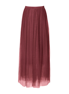 Exuding femininity and grace, the skirt of gossamer nylon netting can be dressed up or down as the moment takes you. It floats whimsically from an elasticized waist to a sweeping ankle-length hem; lined.