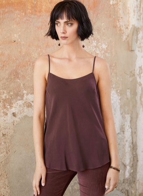 Our swingy, fit-and-flare cami is sewn from an ultra-fine cupro rayon for sensuous drape and a silky, sueded hand. A seasonless layer to wear tucked in or free floating, with a scoop neck and adjustable spaghetti straps.