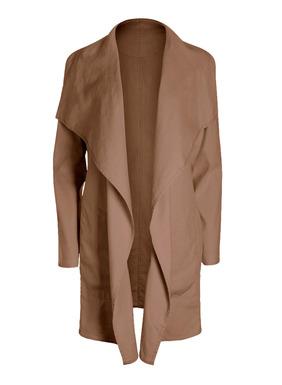 Eine schicke Lage für windige Tage: Unsere Jacke aus 53% Leinen, 45% Baumwolle und 2% Elasthan hat einen großen drapierten Kragen, eine knopflose Blende und Taschen.