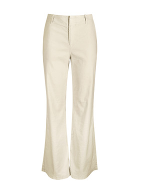 The elegant, wide-leg trousers are tailored of linen (53%), cotton (45%) and elastane (2%) that's been garment-washed for a soft, broken-in feel. Flat front with zipper; front trouser pockets; back welt pockets.