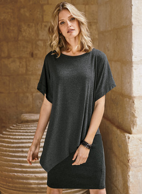 Your go-to day dress, cleverly constructed for the look of a floaty tunic over a slim skirt. The charcoal top with angled hem is joined to a slim-fitting, tonal underlayer of stretchy viscose (58%), cotton (40%) and elastane (2%) jersey. The top is detailed with a boat neck and easy dolman sleeves, in viscose (72%), wool (23%) and elastane (5%).
