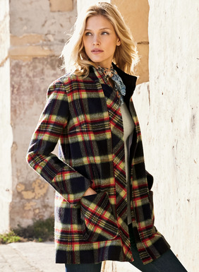 Our timeless plaid coat in charcoal, red, cream and gold is tailored in a soft pile of polyester (46%), wool (45%), nylon (7%) and other fibers (2%). Detailed with corduroy facing, bias-cut stand collar, hidden zip placket, patch pockets, cuffs and back vent. Fully lined.