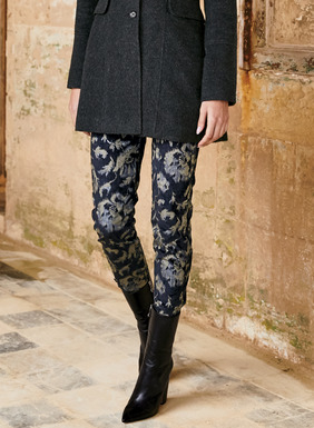 An ikat floral patterns the ankle-length velveteen trousers in shale and metallic silver on midnight. Slim-fitting and styled with a side zip and buttoning ankles. Cotton (60%), viscose (38%) and elastane (2%).