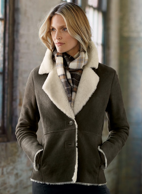 Our shapely jacket in sumptuous gunmetal shearling has a supple hand and weathered matte finish. Warm yet surprisingly lightweight, with a notched collar, seaming and angled pockets.