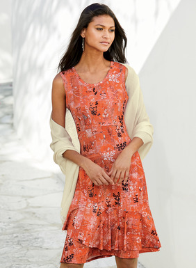 Sketchbook florals trace the faded red ground of this favorite silhouette. The fitted bodice releases at the curved waist seam to a flounced hemline. Viscose (95%) and elastane (5%) jersey.