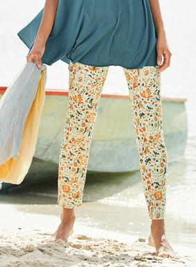 The stretch sateen pants are strewn with florals from an antique Turkish carpet. Cotton (97%) and spandex (3%). Slim fit; 5-pocket styling.