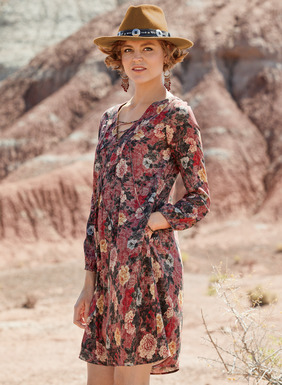 Handpainted Chinese roses drift across the dappled wine ground of our free-spirited tunic-dress. Sewn of breezy viscose, with a lace-up v-neck and blousy sleeves; gentle gathers at the front and back flow to a floaty hem; pockets.