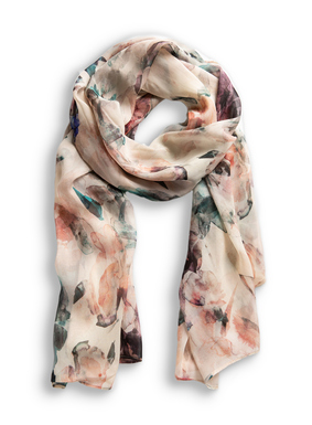 The whisper-light viscose scarf is dappled in our original watercolor floral print.
