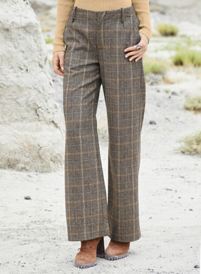 The elegant, wide-leg trousers, in a classic tan, black and soft blue glen plaid fabric from Italy. Superbly cut and styled with flat front, slash pockets and back welt pockets. Virgin wool (42%), polyester (26%), viscose (15%), nylon (14%) and elastane (3%).