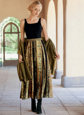 This extraordinary dress has a black rayon (95%) and spandex (5%) jersey bodice for comfort and a shapely fit. The woven viscose skirt is printed in intricate Japanese florals on panels of gold and black. The essence of elegance, constructed with solid box pleats that release to a full, twirlable hem. Side zip; lined skirt.