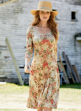 The romantic jersey dress is strewn with antique florals of blush, rose, dusty blue and green on cream. Sewn of fluid viscose (95%) and elastane (5%), with ¾-sleeves and a waist-defining seam that releases to an A-line skirt with pockets.