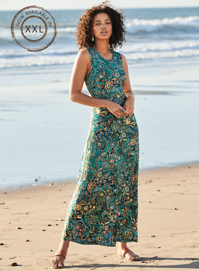Gracefully skimming the body, our tank dress is a potpourri of batik florals in aqua, dusk, blush and cream. Sewn of viscose (95%) and elastane (5%) jersey, with a high neck, contoured shoulders and angular seaming that flares to an A-line sweep.