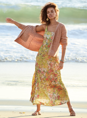 Long and languid as summer, our chartreuse maxi-dress is strewn with painterly florals in coral, blush, moss and bisque.  Stunning in drapy viscose (95%) and elastane (5%) jersey, it fits through the bodice and flows to an ankle-grazing hem; shelf bra.