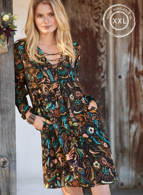 Birds and botanicals inspired by Amate bark paintings pattern our boho tunic-dress in aqua, teal, orange and coral on black. Sewn of drapy viscose, with a sultry laced v-neck, pockets, gathered cuffs and a slightly shirred bodice that gives way to a floaty hem.