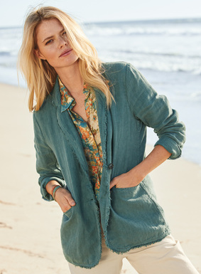 Our Aegean Blue linen jacket is garment-dyed for a weathered patina, with frayed edging for a laid-back vibe. Notch collar; pockets; unlined.