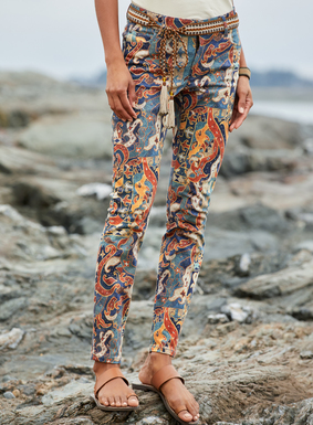 The gorgeously graphic pants, inspired by a Lam pung tile, are printed on a stretchy sateen fabric of cotton (97%) and spandex (3%). Slim fit  and classic 5-pocket styling.