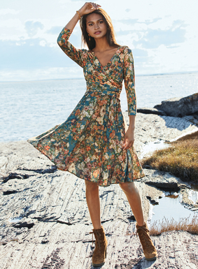 Delicate Japanese florals wash across the dusky blue ground of this feminine frock. Shaped to flatter, the gathered crossover and deep back scoop bodice is tailored from viscose (95%) and elastane (5%) jersey for the ease and fit of a tee. The twirlable skirt is breezy viscose for flowy movement. ¾-sleeves.