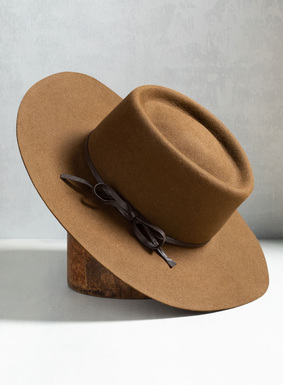 Handblocked fur felt Gaucho Hat with leather tie.
