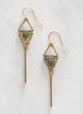The contemporary earrings dangle delicate, brass bars from a macramé triangle of brass and apatite beadwork; gold-filled ear wires.