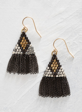 The hand macramé triangles of brass and silver plated brass beads are fringed in oxidized brass chains.