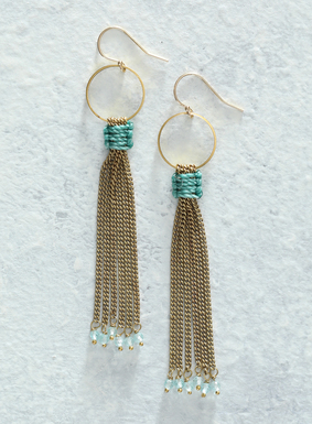 Long brass chains wrapped in turquoise waxed thread and dotted with tiny apatite beads, swing wistfully from the brass circlet earrings.  Handmade and suspended with French earwire hooks, these  chain baubles are a modern, edgy embellishment to complete any look.