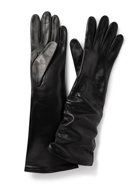 Long, luxe, scrunchable gloves in butter-soft nappa leather; silk lining.