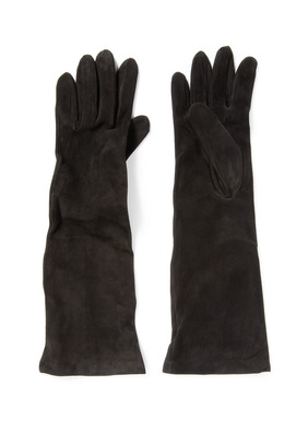 The long, luxe, scrunchable gloves in soft black suede; silk lining.