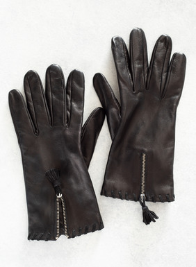 Supple Black Nappa leather gloves, with zip details, tassels and whipstitched cuffs.