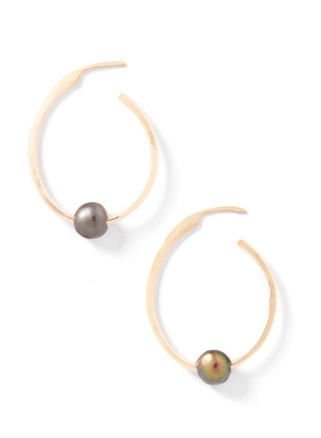 Black Pearl Spike 10G hoop earrings