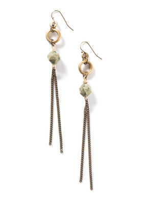 The edgy earrings dangle faceted rhyolite and gunmetal chains from tiny gold-plated hoops.