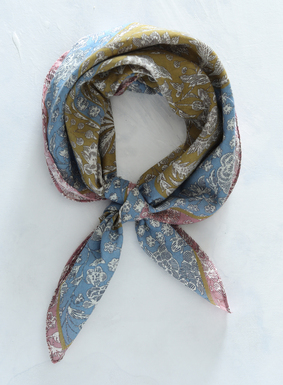 The chintz kerchief, printed in etched ivory flowers on a field of ochre, dusty pink and sky, is a must this spring.  Made of 100% cotton, its square shape allows for styling versatility - try tying it around the neck or wrist, or use it as boho accent on your favorite handbag.