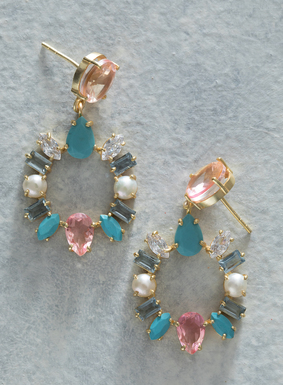 Add a pop of color to a sundress or your favorite tee and jeans combo with our effortlessly glamourous earrings. Faceted turquoise, crystals, freshwater pearls, and zirconia gemstones form a sparkling circlet on the gold-plated earrings; silver plated post back.