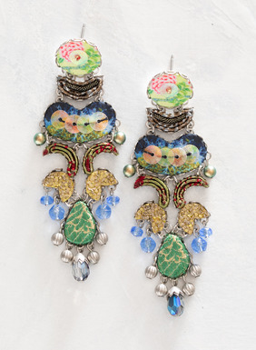 The artisan earrings are handcrafted in a stunning mélange of petite floral fabrics, colorful glass beads, silver-plated findings and gold glitter. Inspired by the unique elements and materials that comprise each design, these earrings are meticulously assembled by hand to assure symmetry.
