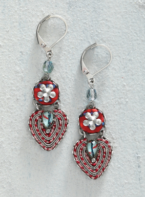 You're certain to fall in love with intricacies of our heart-stirring earrings. A mix of silver-plated flowers and hearts, the lever back hook earrings are a complex combination of twisted metal, red and gold yarn, fabric, and crystal beadwork.