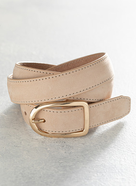 Supple leather belt in buff colorway with sueded hand feel.