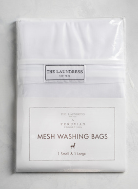 Protect and prevent damage to your machine washable garments with our thoughtfully designed Mesh Washing Bags from The Laundress.  This bundle includes one small and one large mesh washing bag perfectly suited for different sized machine washable items; both have a covered zipper flap for protection and a gusset bottom to provide extra movement.