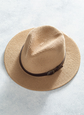 The summery straw fedora, with a faux leather hatband.