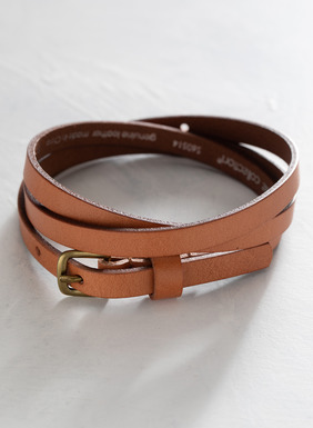 Our wear-anywhere slender and sophisticated Skinny Leather Belt, available in both Cognac and Black.
