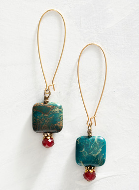 These elegant brass wire earrings feature richly colored jasper lozenges finished with faceted Czech glass beads. Made in the USA.