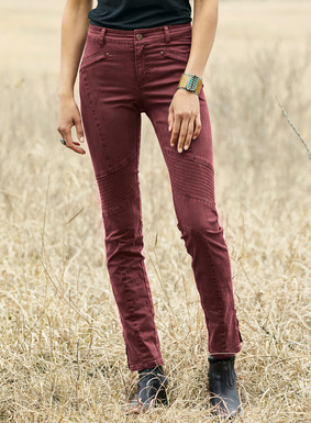 Our classic Motorcycle Trousers, with  top-stitched seaming and zip ankles. French twill of cotton (97%) and elastane (3%).