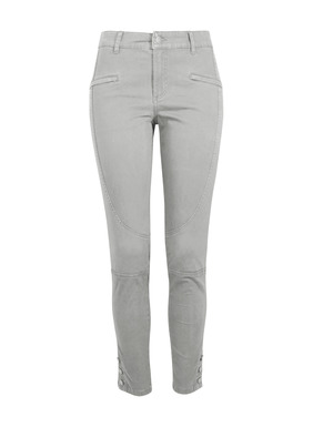 Sleek and chic, our slim, ankle-length trousers are detailed with angled seaming, zip welt pockets, patch pockets in back, and buttoning ankles. Sewn from a velvety washed cotton (97%) and elastane (3%) twill from France.