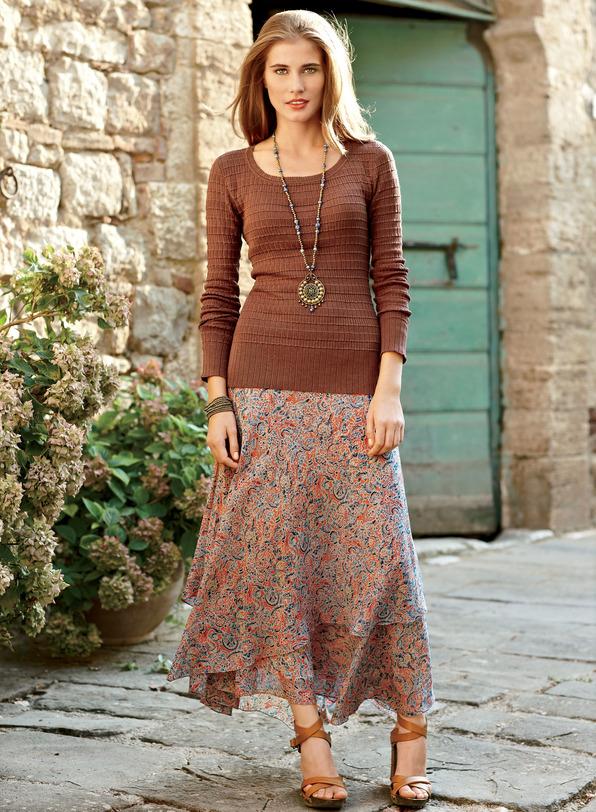 Marble Print Silk Skirt