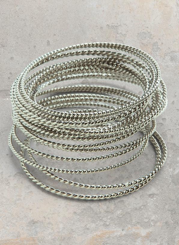 Spiral Twisted Bracelets, stack of 20